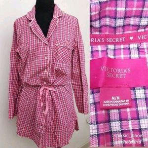 Victoria's Secret Flannel Nightshirt/Pajama Top